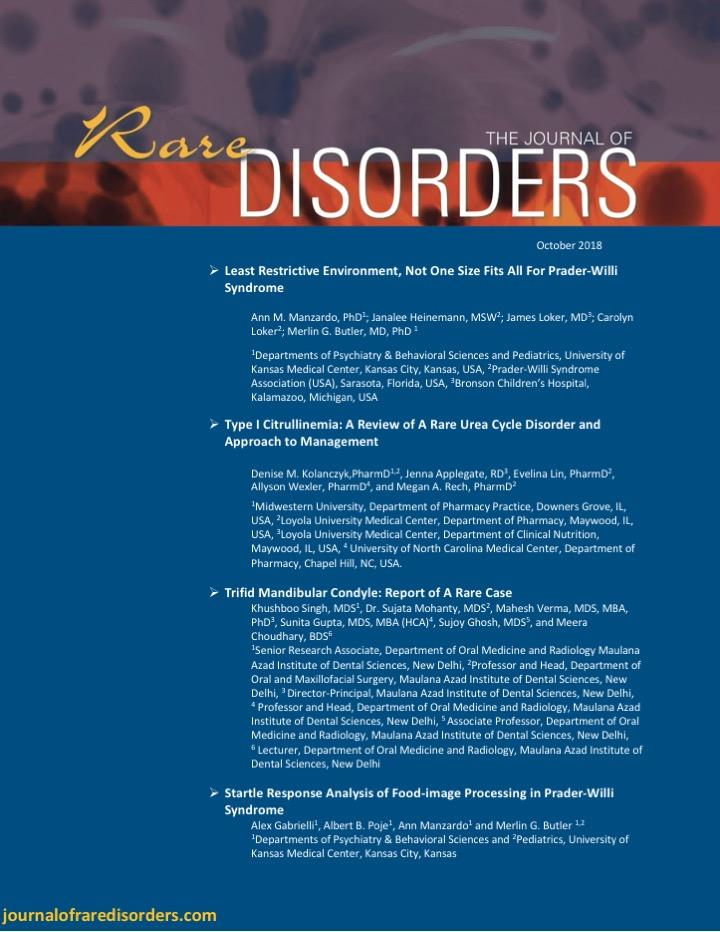 Journal of Rare Disorders Journal Cover